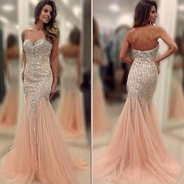 Sweetheart Mermaid Sexy Beaded Long Prom Dresses, PM0071