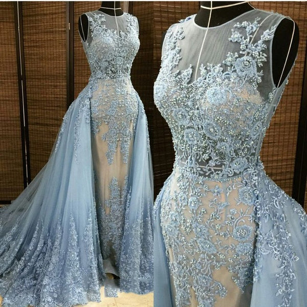 Blue Gorgeous Unique Applique Seen Through Long Prom Dresses, PM0072 - Prom Muse
