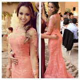 See Through Back Long Sleeves Peach Long Prom Dresses, PM0074