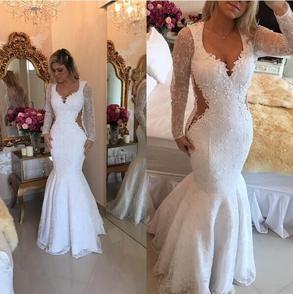 White Long Sleeves Mermaid Unique Lace Long Prom Dresses, PM0075