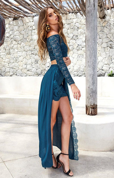 Long Sleeves Two Pieces Side Slit Long Sexy Lace Beach Prom Dresses, PM0302 - Prom Muse