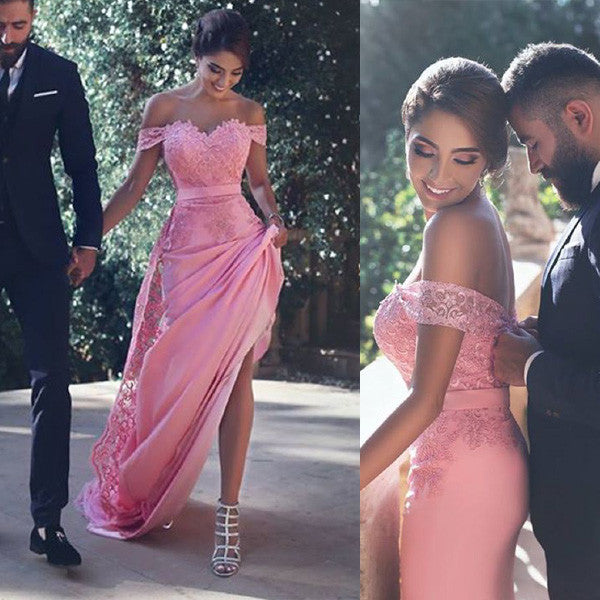 Dusty Rose Off the Shoulder Sweetheart Lace Long Prom Bridesmaid Dresses, PM0076 - Prom Muse
