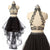 Two Pieces High Neck Black Beaded Top High Low Cheap Party Prom Dresses, PM0771