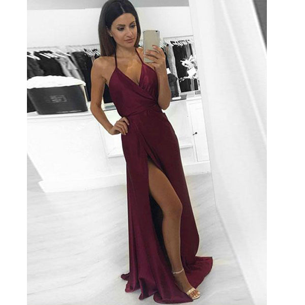 Simple Burgundy Open Back Side Split Sexy Cheap Long Prom Dresses, PM0772