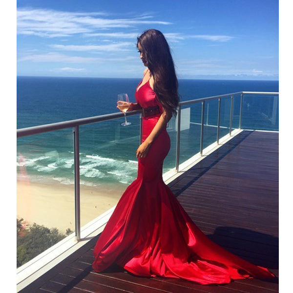 Red Simple Mermaid Sexy Cheap Long Evening Prom Dresses, PM0773