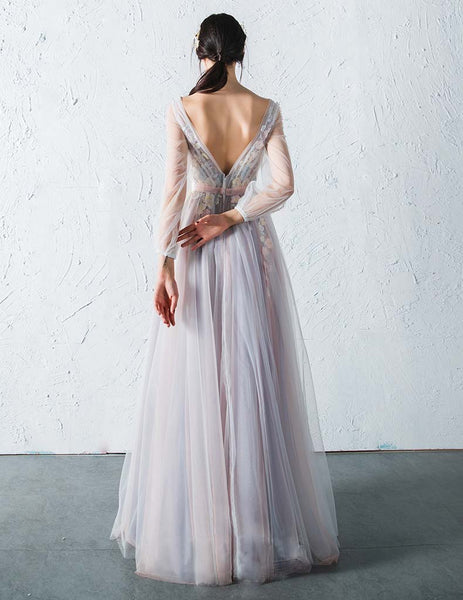 Affordable Long Sleeves Charming Unique V Back Long Prom Dresses, PM775 - Prom Muse