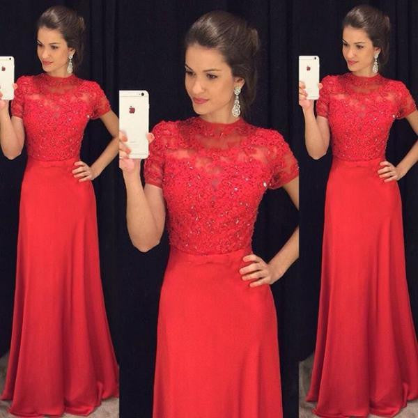Red Short Sleeves Small Round Neck Long Lace Prom Dresses, PM0077 - Prom Muse