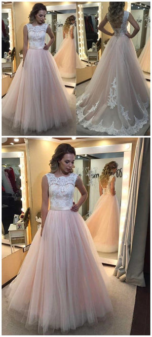 Online Inexpensive Lace Top Pink Tulle Long Prom Dresses with Lace Up Back, PM0780 - Prom Muse