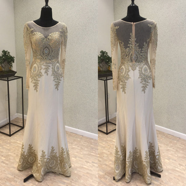 Long Sleeves Elegant Formal Affordable Floor Length Prom Dresses, PM0782 - Prom Muse