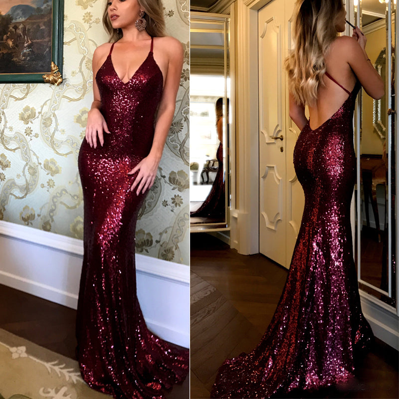 Burgundy Sequin Cheap Shinning Sexy Open Back Long Prom Dresses, PM0783 - Prom Muse