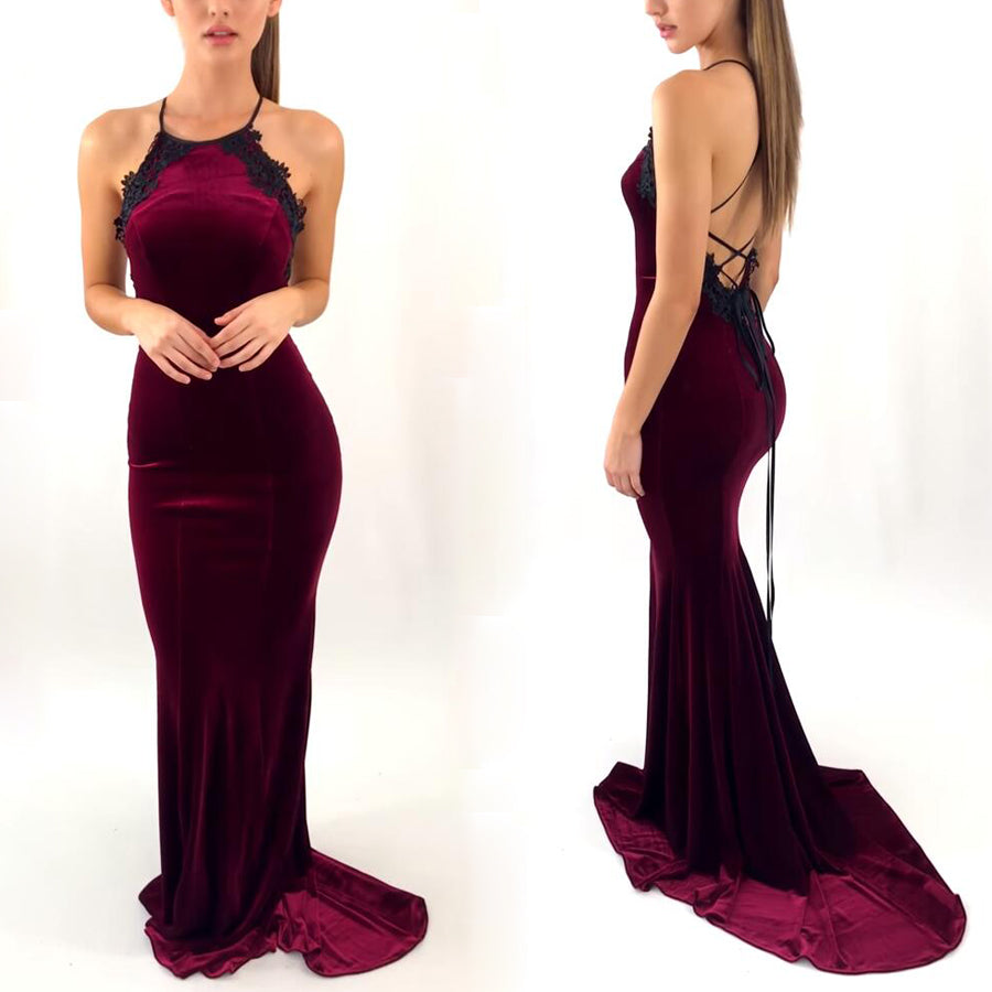 Burgundy Mermaid Sexy Open Back Halter Long Prom Dresses, PM0788 - Prom Muse