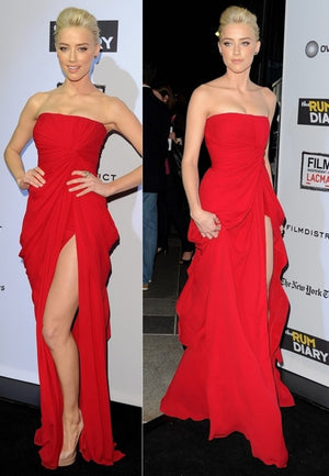Red Side Split Straight Neckline Simple Cheap Long Prom Dresses, PM0079 - Prom Muse