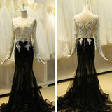 Black Ivory Applique Long Sleeves Sexy Unique Long Prom Dress, PM0007 - Prom Muse