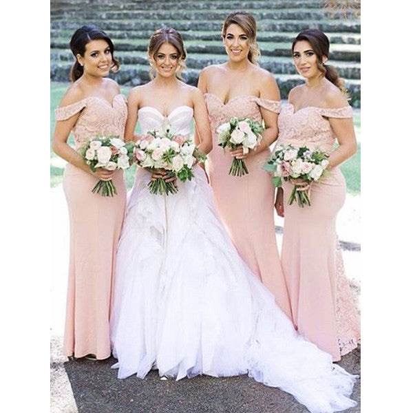 699c395d590f Blush Pink Off the Shoulder Lace Mermaid Sexy Long Bridesmaid Dresses
