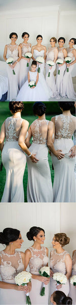 Charming Seen Through Back Lace Mermaid Sexy Long Bridesmaid Dresses, PM0801 - Prom Muse