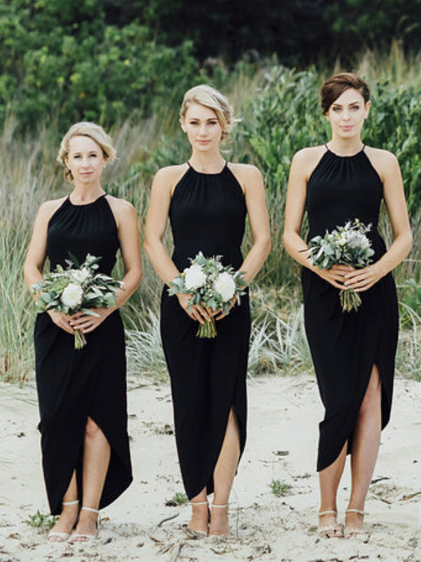 Black Split Sexy Cheap Simple Beach Wedding Party Bridesmaid Dresses, PM0802 - Prom Muse