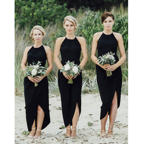 Attrayant Black Split Sexy Cheap Simple Beach Wedding Party Bridesmaid Dresses, PM0802