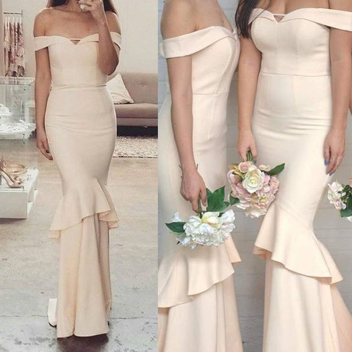 Off the Shoulder Mermaid Unique Champange Long Bridesmaid Dresses, PM0804 - Prom Muse