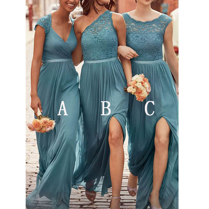 Charming Mismatched Chiffon Lace Elegant Long Wedding Party Bridesmaid Dresses, PM0805 - Prom Muse