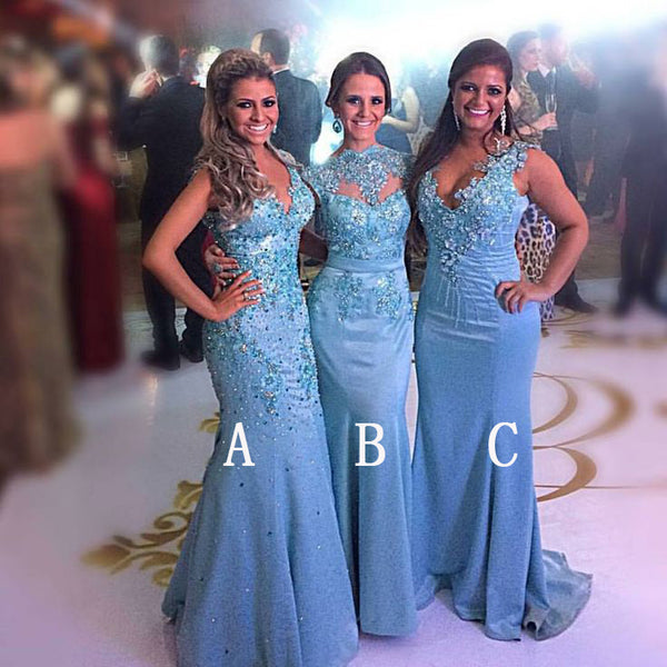 Unique Gorgeous Mismatched Mermaid Applique Beaded Long Bridesmaid Dresses, PM0806