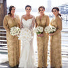Gold Lace Long Sleeves V Neck Split Long Wedding Party Bridesmaid Dresses, PM0808