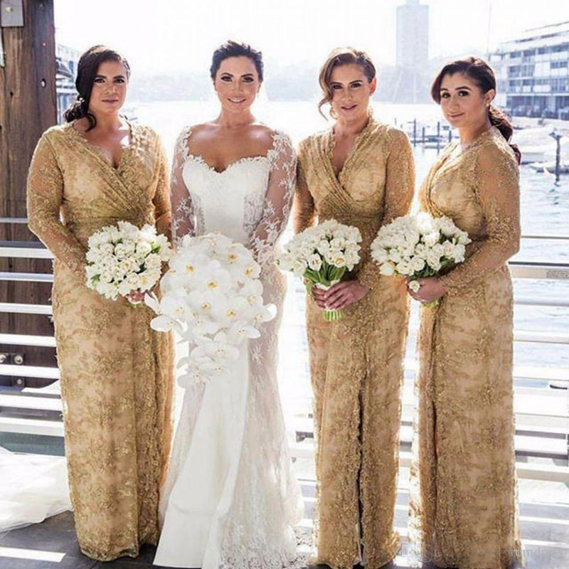 Gold Lace Long Sleeves V Neck Split Long Wedding Party Bridesmaid Dresses, PM0808 - Prom Muse