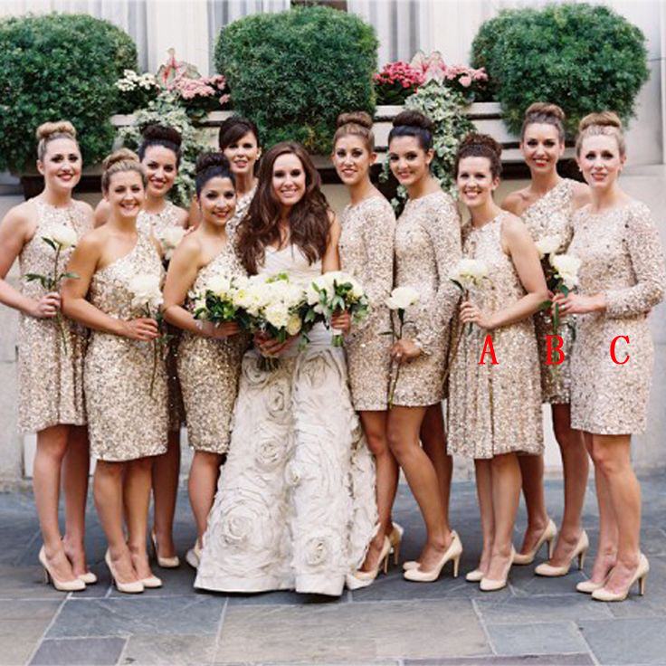 Mismatched Knee Length Pretty Wedding Party Bridesmaid Dresses, PM0809