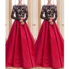 Red Black Two Pieces Long Sleeves Lace Long Prom Dresses, PM0080 - Prom Muse