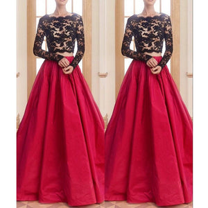 Red Black Two Pieces Long Sleeves Lace Long Prom Dresses, PM0080