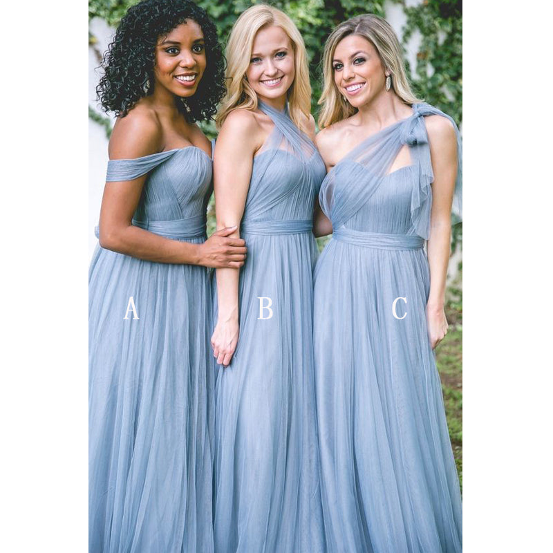 Populr Tulle Mismatched Convertible Formal Long Cheap Bridesmaid Dresses, PM0810