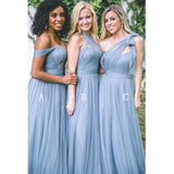 Populr Tulle Mismatched Convertible Formal Long Cheap Bridesmaid Dresses, PM0810 - Prom Muse