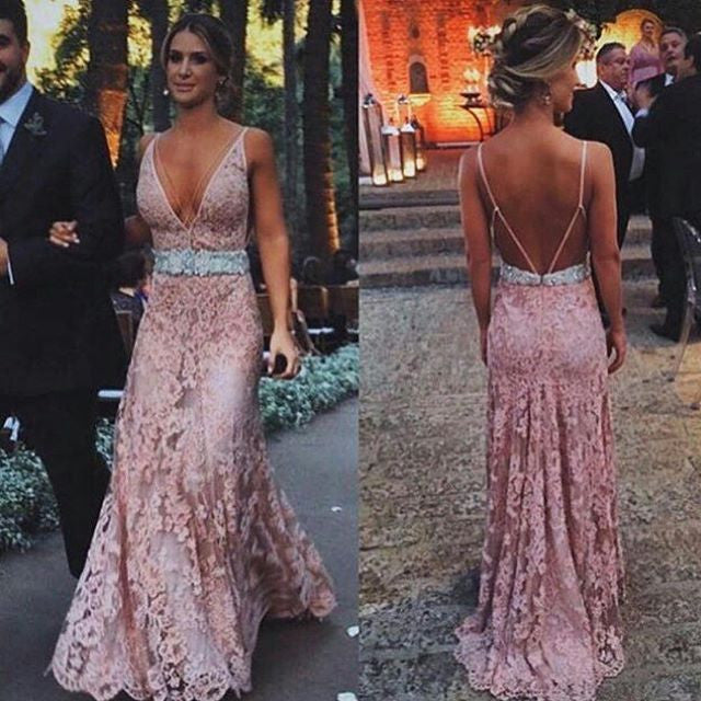 49ca97e7bc9 Dusty Pink Open Back Deep V Neck Sexy Long Lace Prom Dress