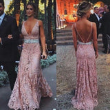 Dusty Pink Open Back Deep V Neck Sexy Long Lace Prom Dress, PM0081 - Prom Muse