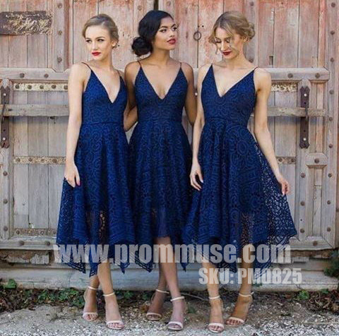 Most Popular Unique Lace V Neck Pretty Cheap Short Bridesmaid Dresses, PM0825