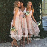 Most Popular Unique Lace V Neck Pretty Cheap Short Bridesmaid Dresses, PM0825 - Prom Muse