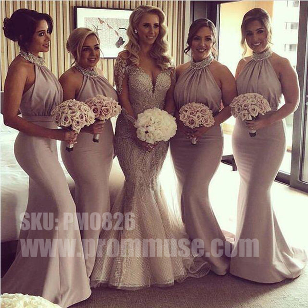 Mermaid Hater Sexy Elegant Inexpensive Wedding Long Bridesmaid Dresses, PM0826 - Prom Muse