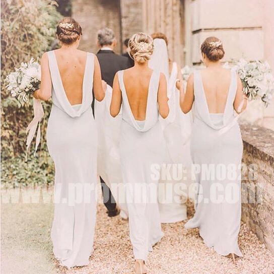 Elegant Open Back Charming Women Fashion Wedding Long Bridesmaid Dresses, PM0828 - Prom Muse