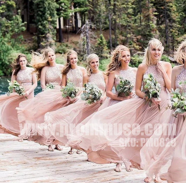 Charming Popular Hater Sequin top Formal Wedding Long Bridesmaid Dresses, PM0829 - Prom Muse