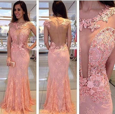 Pink Open Seen Through Deep V Neck Sexy Lace Prom Dresses, PM0082