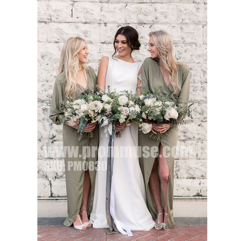 Long Sleeves V Neck Split Elegant Cheap Beach Wedding Long Bridesmaid Dresses, PM0830