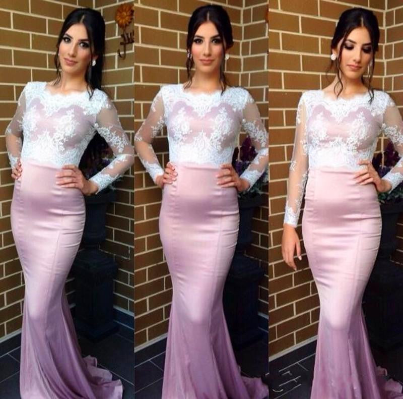 Long Sleeves Mermaid White Lace Blush Pink Bridesmaid Prom Dresses, PM0083 - Prom Muse