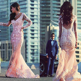 Mermaid Long Sleeves Applique Seen Through Back Prom Dresses, PM0084 - Prom Muse
