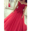 Off the Shoulder Tulle Applique Long Ball Gown Prom Dresses, PM0087