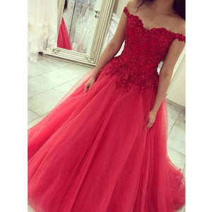 Off the Shoulder Tulle Applique Long Ball Gown Prom Dresses, PM0087 - Prom Muse