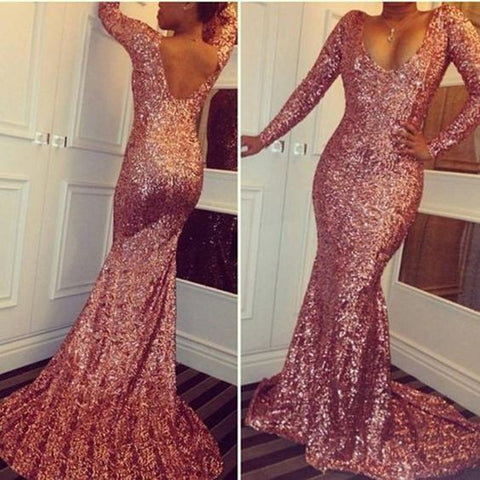 Shinning Long Sleeves Sequin Cheap Mermaid Prom Dress, PM0001