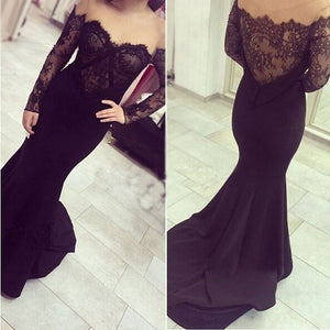 Black Off the Shoulder Lace Long Sleeves Sweetheart Mermaid Prom Dresses, PM0088 - Prom Muse