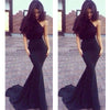Navy Lace One Shoulder Sexy Long Mermaid Prom Dresses, PM0089