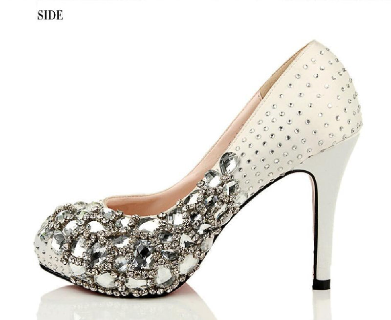 Fashion Handmade Rhinestone High Heels Pointed Toe Crystal Wedding Bridal Shoes, S024 - Prom Muse