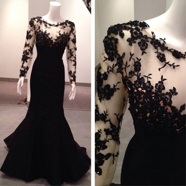Black Applique Long Sleeves Mermaid Long Prom Dresses, PM0008 - Prom Muse