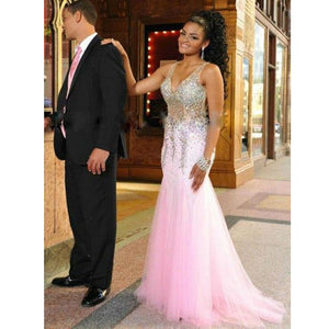 Pink Sparkly V Neck Heavy Beaded Gorgeous Long Prom Dresses, PM0090